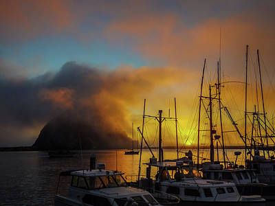 Photograph - Morro Rock At Sunset by Constance Reid