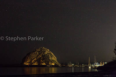 Photograph - Morro Rock Star Shot 8b5530 by Stephen Parker
