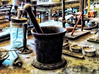Photograph - Mortar And Pestle In Chem Lab by Susan Savad