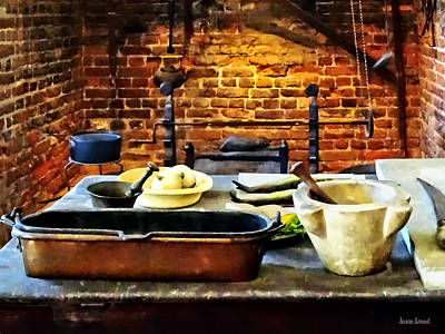 Photograph - Mortar And Pestles In Colonial Kitchen by Susan Savad