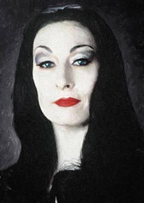 Television Painting - Morticia Addams  by Taylan Apukovska