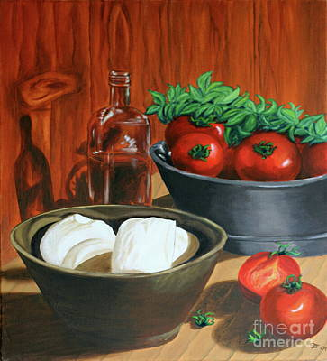 Italian Kitchen Painting - Morzarella And Tomatoes by Christiane Schulze Art And Photography
