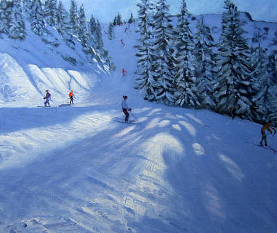 Winter Landscapes Painting - Morzine Ski Run by Andrew Macara
