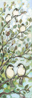 Mo's Chickadees Art Print by Jennifer Lommers