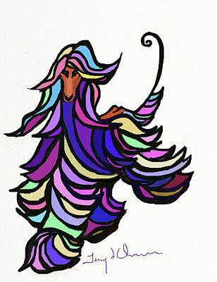 Painting - Mosaic Afghan Hound by Terry Chacon