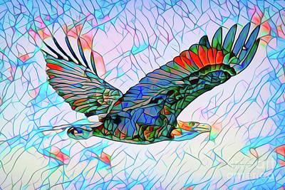 Mixed Media - Mosaic Eagle by Deborah Benoit