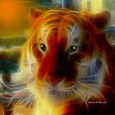 Mosaic Glass Tiger Print by Madeline  Allen - SmudgeArt