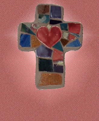 Photograph - Mosaic Heart Cross by Anne Cameron Cutri