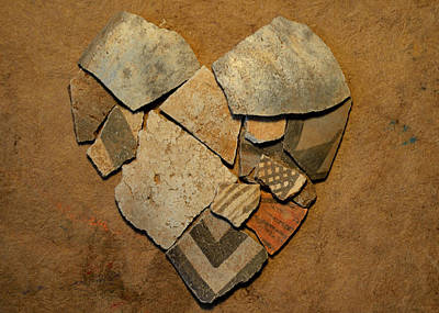 Ceramic Mixed Media - Mosaic Heart On Paper 3 by Adam Riggs