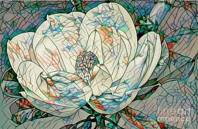 Mixed Media - Mosaic Magnolia by Deborah Benoit