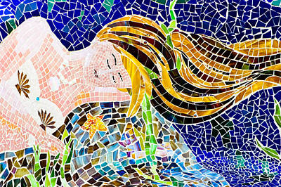 Ceramic Fish Photograph - Mosaic Mermaid by Colleen Kammerer