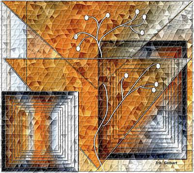 Digital Art - Mosaic Orangescape by Iris Gelbart