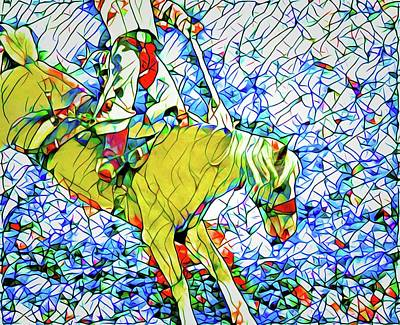 Photograph - Mosaic Palomino Bucking Bronc by Alice Gipson