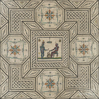 Roman Archaeology Ceramic Art - Mosaic Pavement With Egyptianizing Scene by Roman School