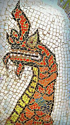 Digital Art - Mosaic Phaya Naga by Ian Gledhill