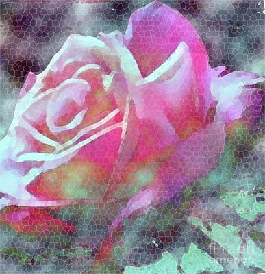 Photograph - Mosaic Pink Rose by Hazel Holland