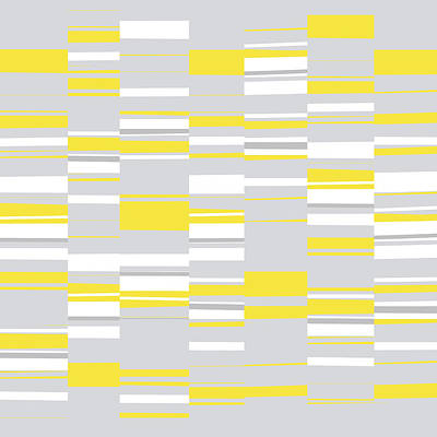 Digital Art - Mosaic Rectangles In Yellow Gray White  by Menega Sabidussi