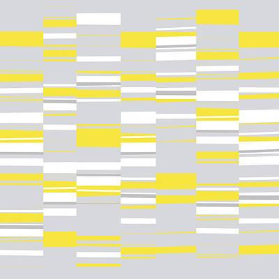 Digital Art - Mosaic Rectangles In Yellow Gray White  by Menega Sabidussi