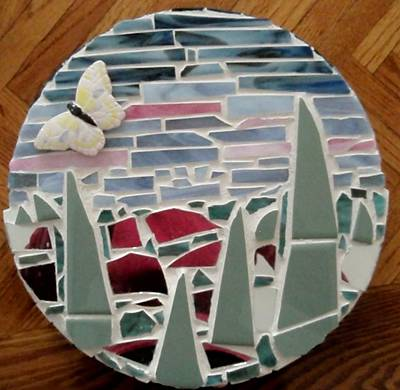 Glass Art - Mosaic Sailboats by Jamie Frier