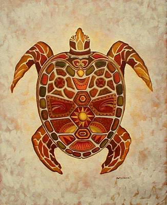 Painting - Mosaic Sea Turtle by Anita Carden