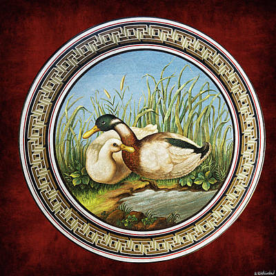 Photograph - Mosaic Table With Ducks - Vatican by Weston Westmoreland