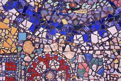 Photograph - Mosaic Tiles In Blue And Red Tones by Jill Lang