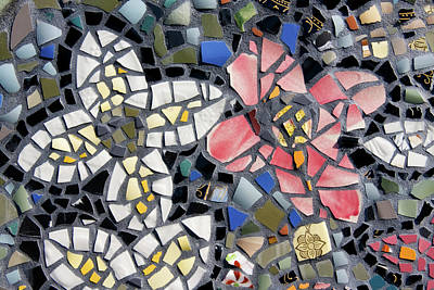 Photograph - Mosaic Tiles In Flower Shapes by Jill Lang