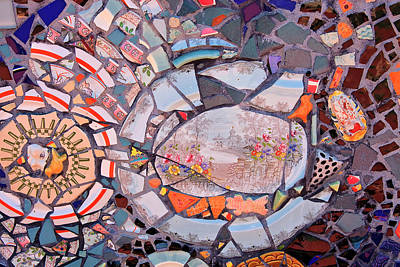 Photograph - Mosaic Tiles In Orange Tones by Jill Lang