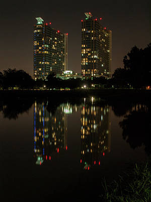 Photograph - Mosaic Towers Night by Joshua House