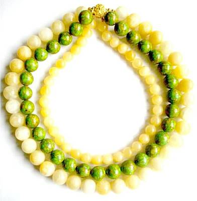 Triple Strand Jewelry - Mosaic Turquoise With Yellow by Pat Stevens