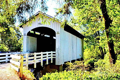 Photograph - Mosbey Creek Stewart Covered Bridge by Ansel Price