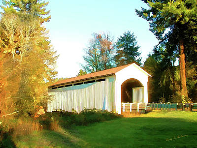 Mosby Creek Covered Bridge Art Print by Wendy McKennon