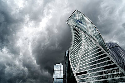 Moscow City And Storm Art Print