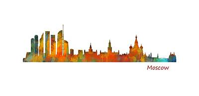 Cityscapes Painting - Moscow City Skyline Hq V1 by HQ Photo