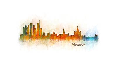 Moscow Skyline Painting - Moscow City Skyline Hq V3 by HQ Photo