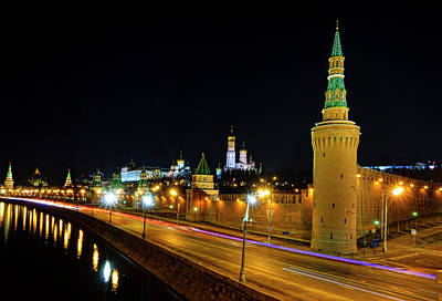 Train Photography - Moscow Kremlin at night by Alexey Stiop
