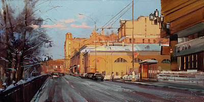 Moscow Wall Art - Painting - Moscow March Came Into Law. Tverskoy Boulevard by Alexey Shalaev