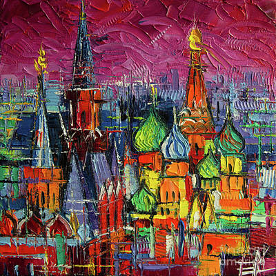Moscow Wall Art - Painting - Moscow Red Square View Textural Impressionist Stylized Cityscape by Mona Edulesco