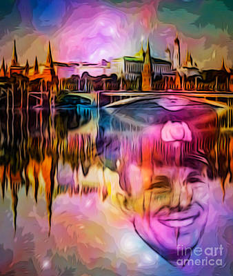 Digital Art - Moscow Reflection With J Gagarin by Algirdas Lukas