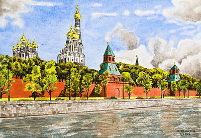 Moscow Drawing - Moscow River by Svetlana Sewell