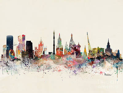 Painting - Moscow Russia Skyline by Bleu Bri