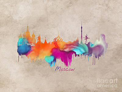 Moscow Skyline Digital Art - Moscow Russia Skyline City Art by Justyna JBJart