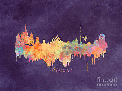 Moscow Skyline Digital Art - Moscow Russia Skyline City by Justyna JBJart