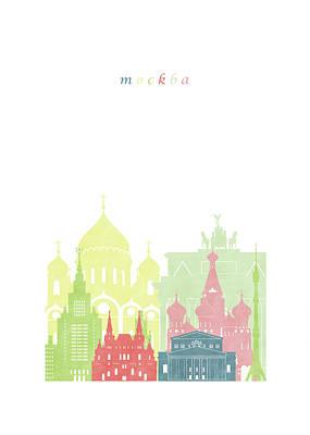 Moscow Skyline Digital Art - Moscow Russia Skyline by GreenGreenDreams Filippo Usai