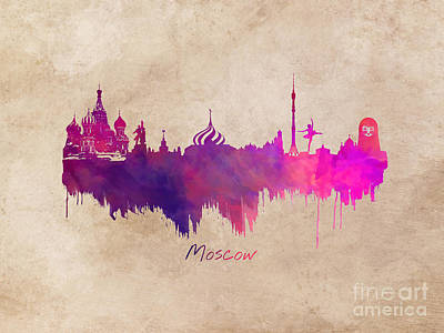 Moscow Skyline Digital Art - Moscow Russia Skyline Purple by Justyna JBJart