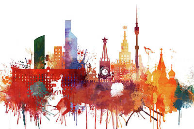 Moscow Skyline Painting - Moscow, Russia, Watercolor by Dim Dom