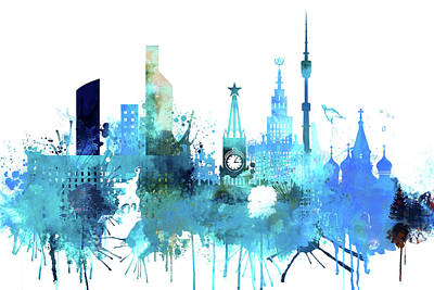 Moscow Skyline Painting - Moscow, Russia, Watercolor In Blue by Dim Dom