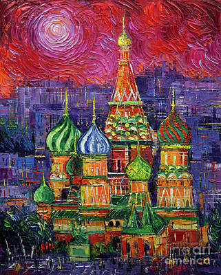 Moscow Wall Art - Painting - Moscow Saint Basil's Cathedral by Mona Edulesco