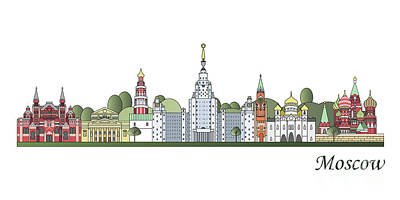 Moscow Skyline Colored Art Print by Pablo Romero