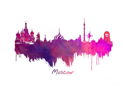 Moscow Skyline Digital Art - Moscow Skyline Purple by Justyna JBJart